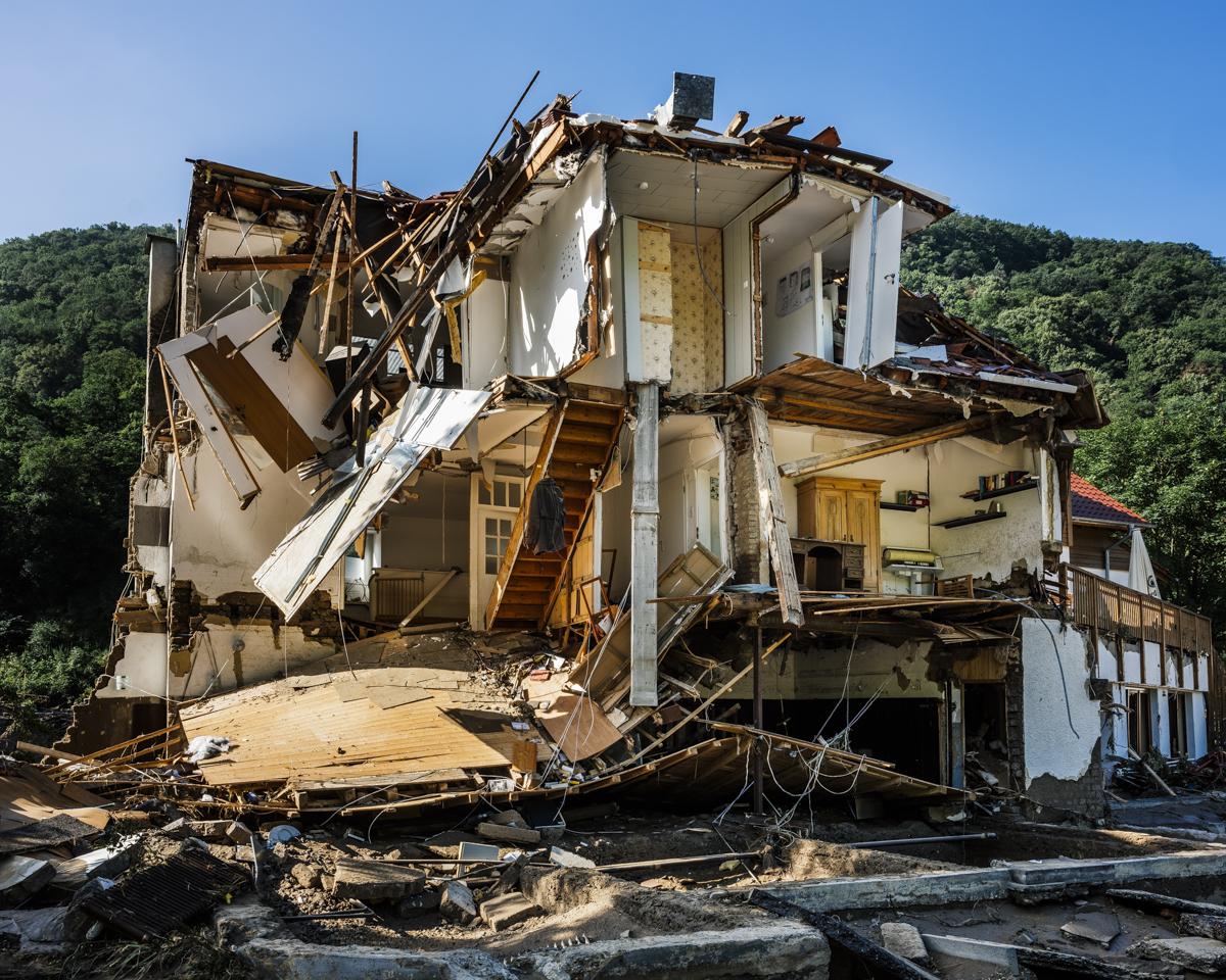 Ein zerstörtes Haus im Marienthal